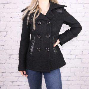 Mackage wool blend leather black short peacoat o1